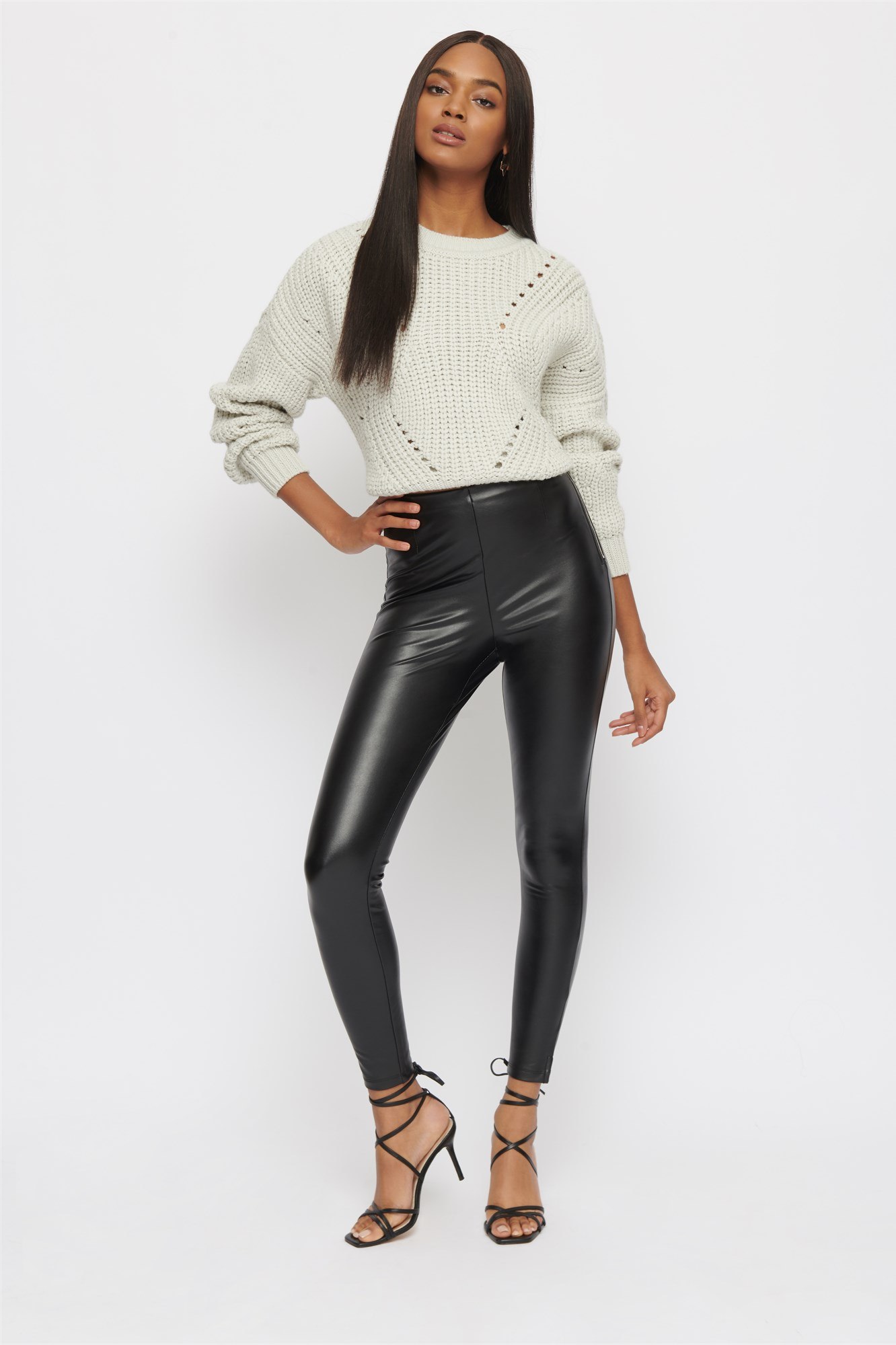 Faux Leather Christy Super Skinny High Rise Pants by Dynamite