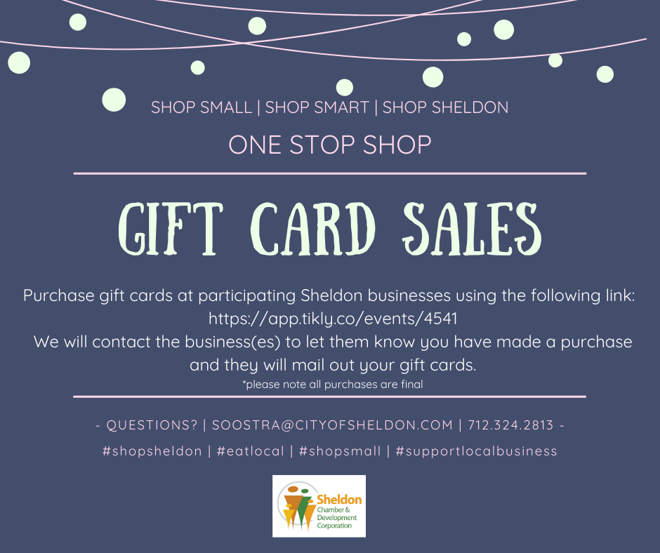 Sheldon Gift Cards Available