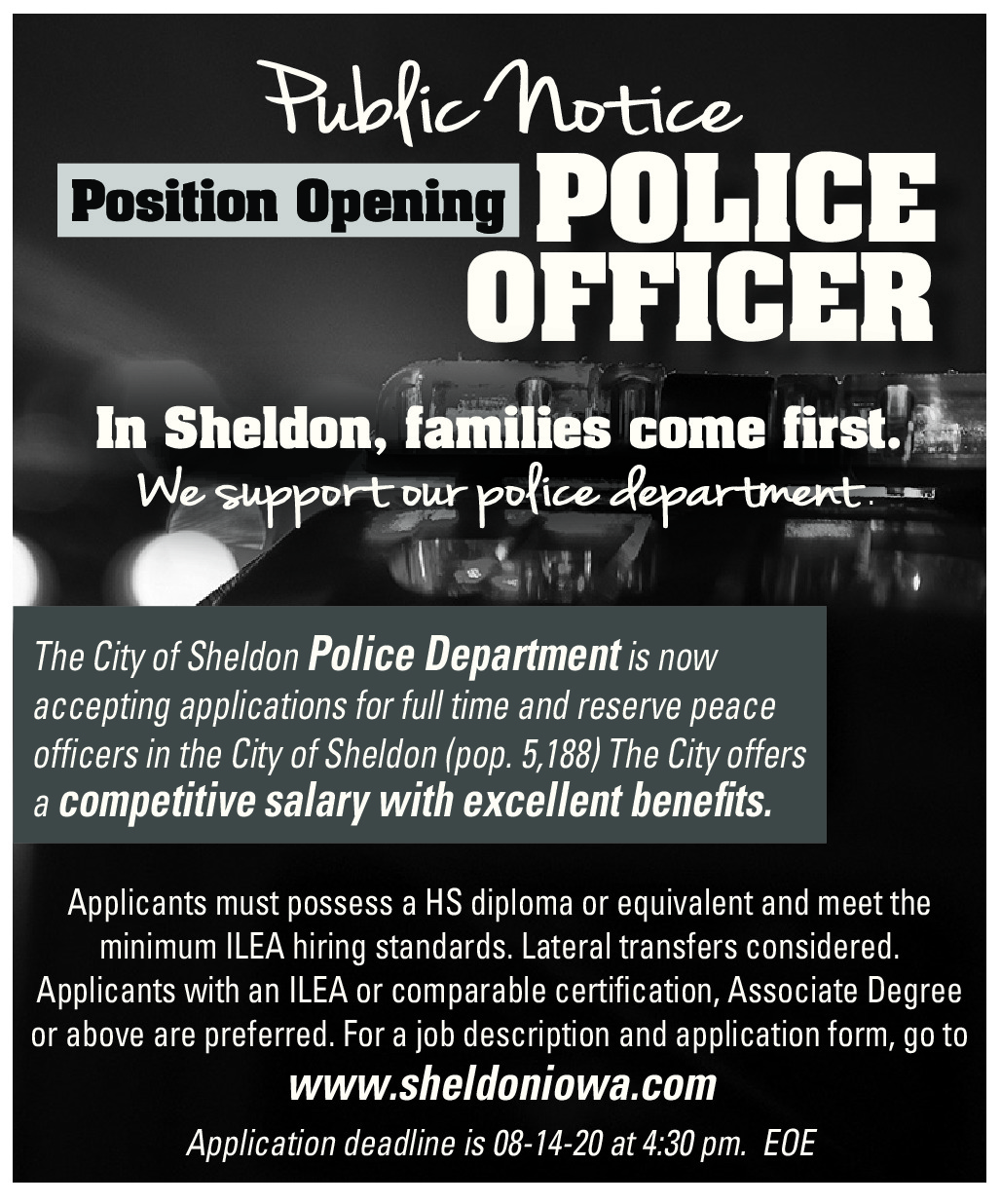 Sheldon Police Department Now Hiring Full-Time Peace Officer