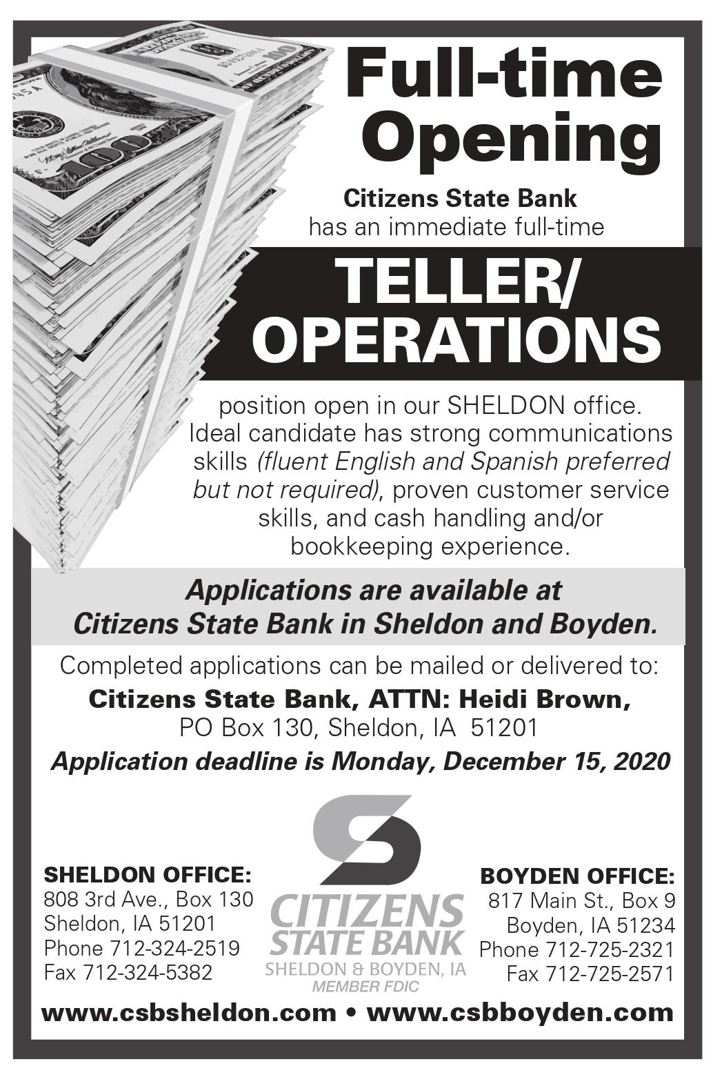 Citizens State Bank has a teller/operations position opening