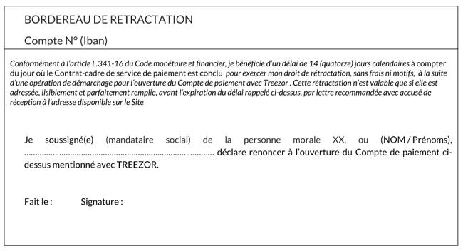 Bordereau rétractation