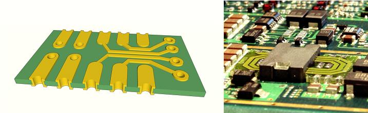 Explanatory 3D image of castellated holes planar pcb transformer with visible top coil and ferrite