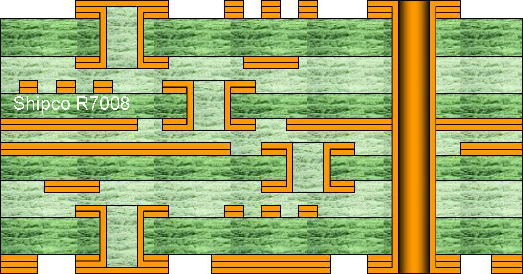 R7008 – 8 layer, 2 buried via layers 3-4 & 5-6 and blind vias L1-L2 & L7-L8