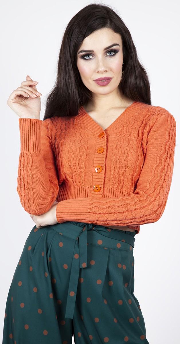 Vintage Clothing - Mabel Cropped 40s Stil Cardigen - Orange