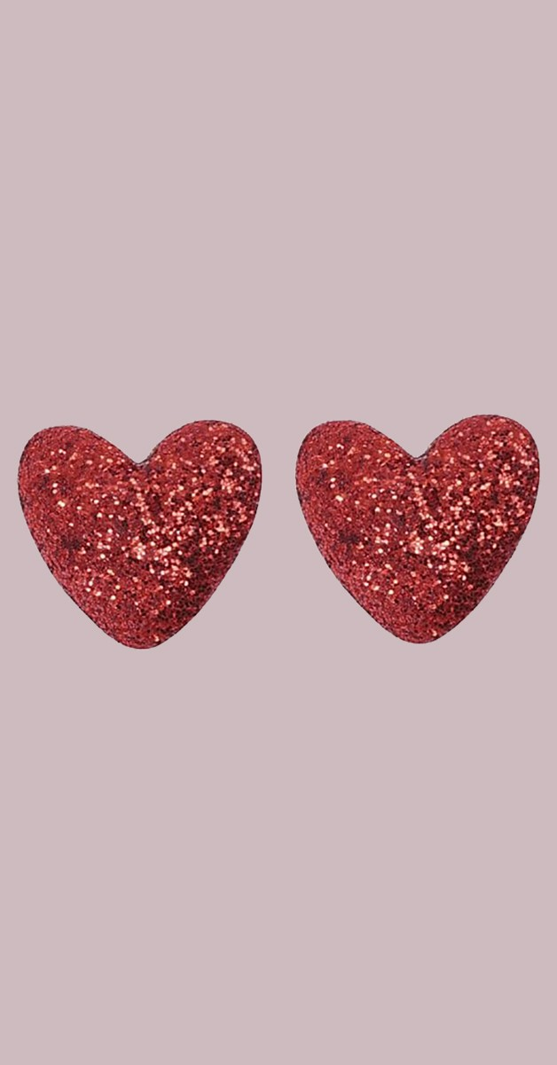 Vintage Retro Ohrstecker - Kay Lurex Heart - Rot