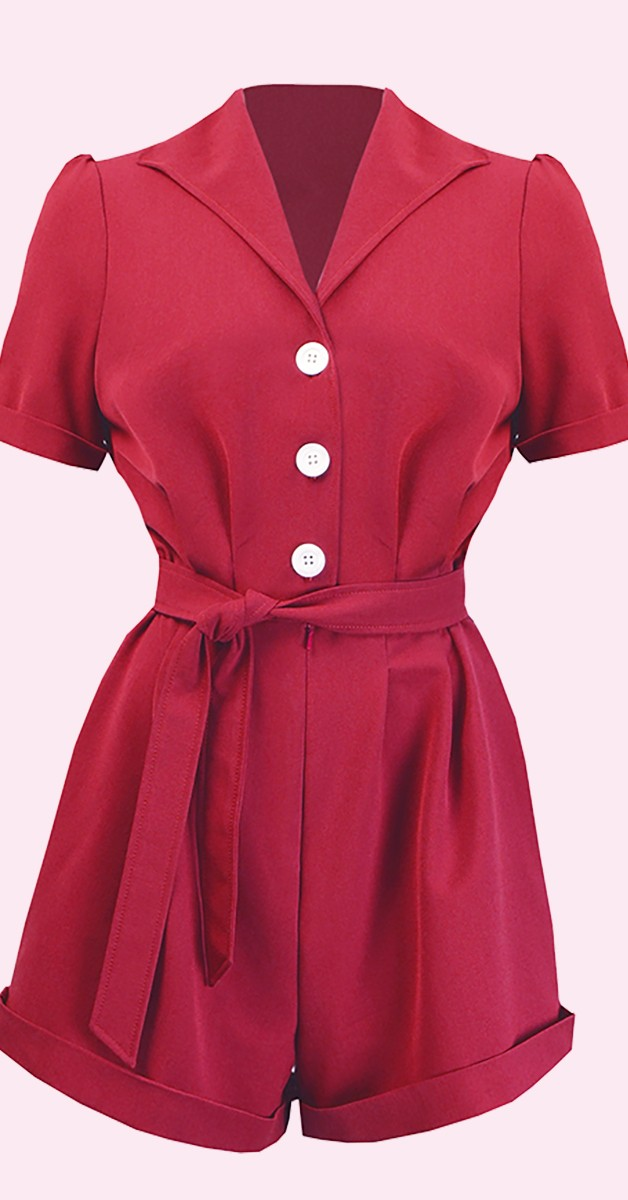 Vintage Clothing -Pretty Playsuit - Red