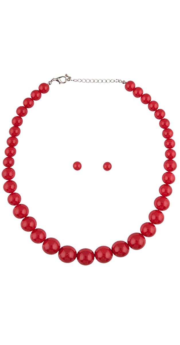 Vintage Jewellery - Natalie Bead Necklace Set-Red