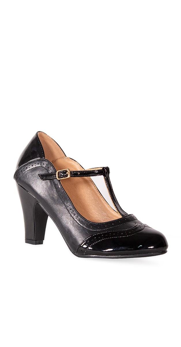 Vintage Stil Schuhe - Diva Blues Heel - Schwarz & Schwarz