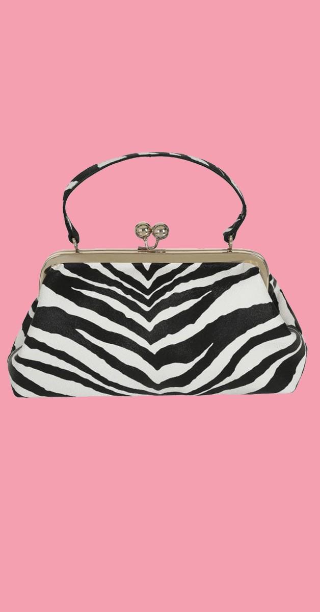 Vintage Retro Bag - Doris Zebra Bag - Black/White