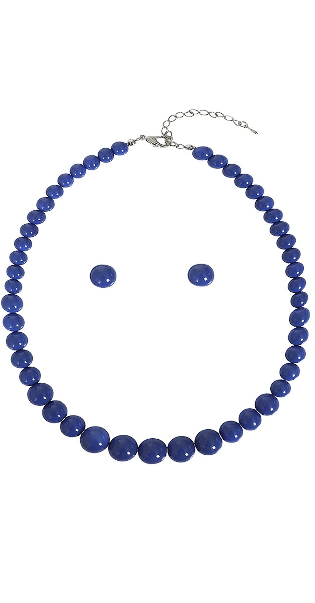 Vintage Schmuckset - Natalie Bead Necklace Set-Blau