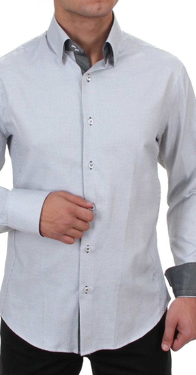 Retro Casual Herren Hemd Slim Fit-Grau