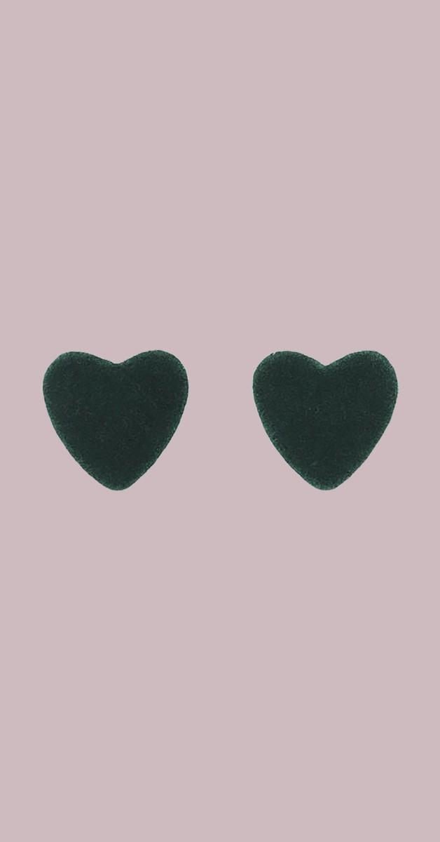 Vintage Retro Ohrstecker - Velvet Heart - Grün