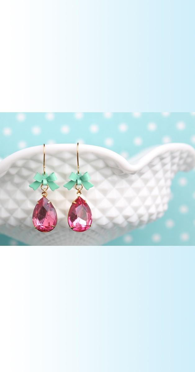 Vintage Jewelry - Drop Earrings - Pink/Mint