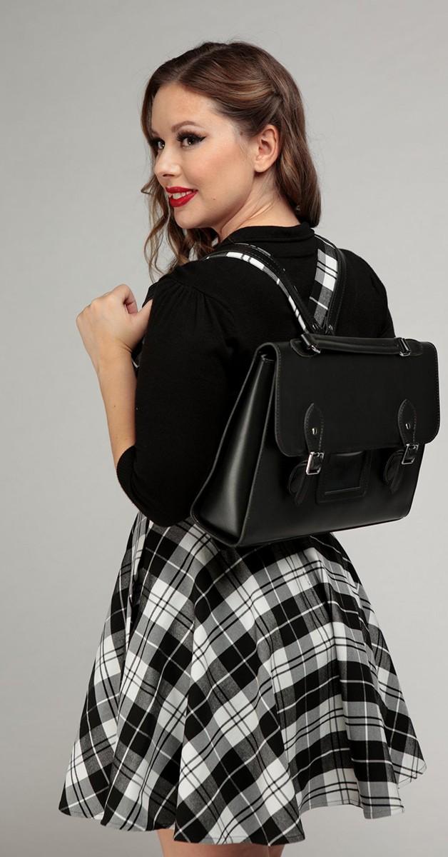 Vintage Retro Bag - College Backpack - Black