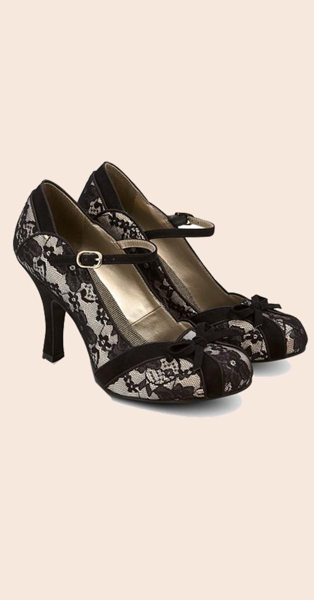Vintage  Shoes  – Vintage Lace Shoes -  Pumps - Cleo - Black