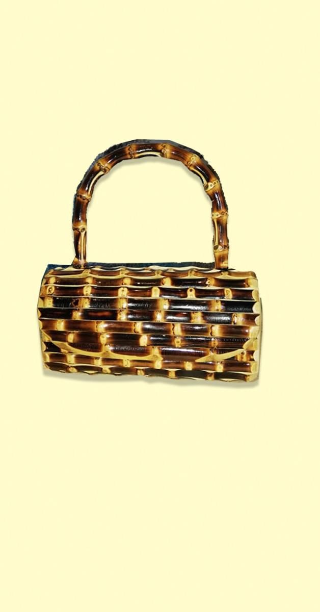 50er Jahre Handtasche - Bambus Clutch Handtasche - Dunkelbraun