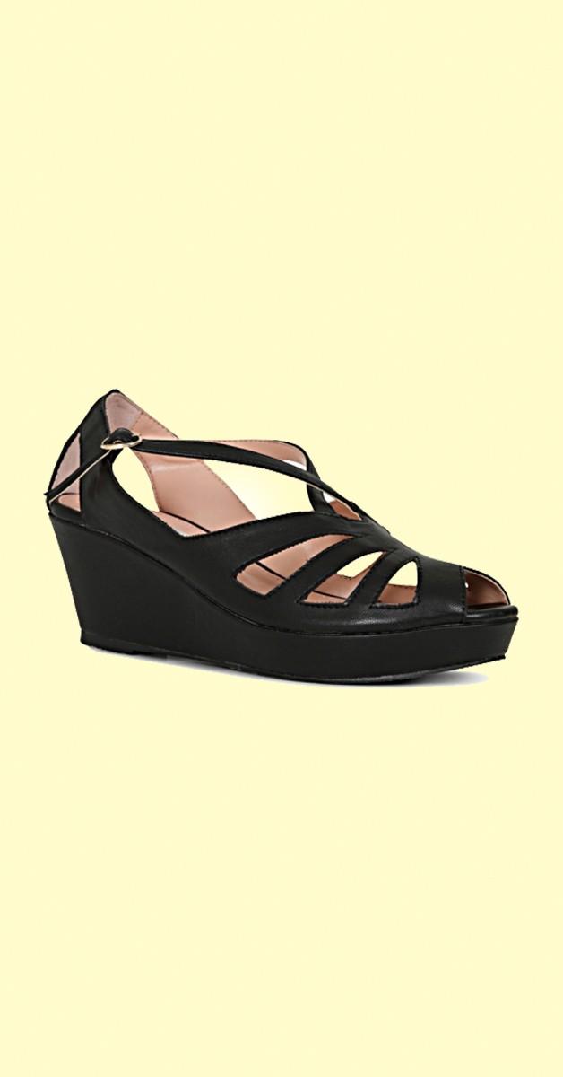 Vintage Stil  Schuhe Giada Wedge - Schwarz