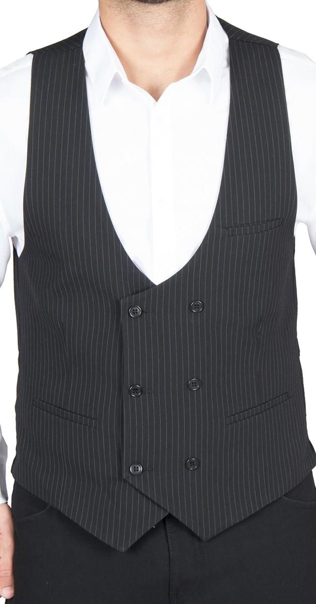 Vintage Bekleidung - Zweireiher Weste schwarz/weiß gestreift