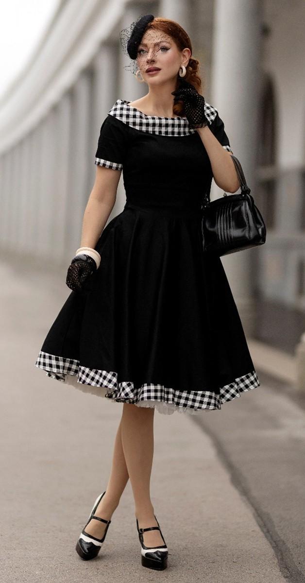 Vintage Style Fashion -Darlene  Black - White Gingham Check