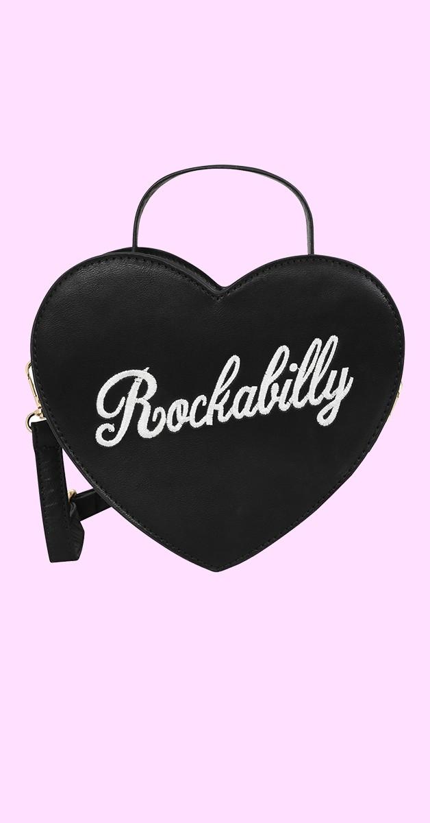 50s Bina Rockabilly Heart Bag in Schwarz
