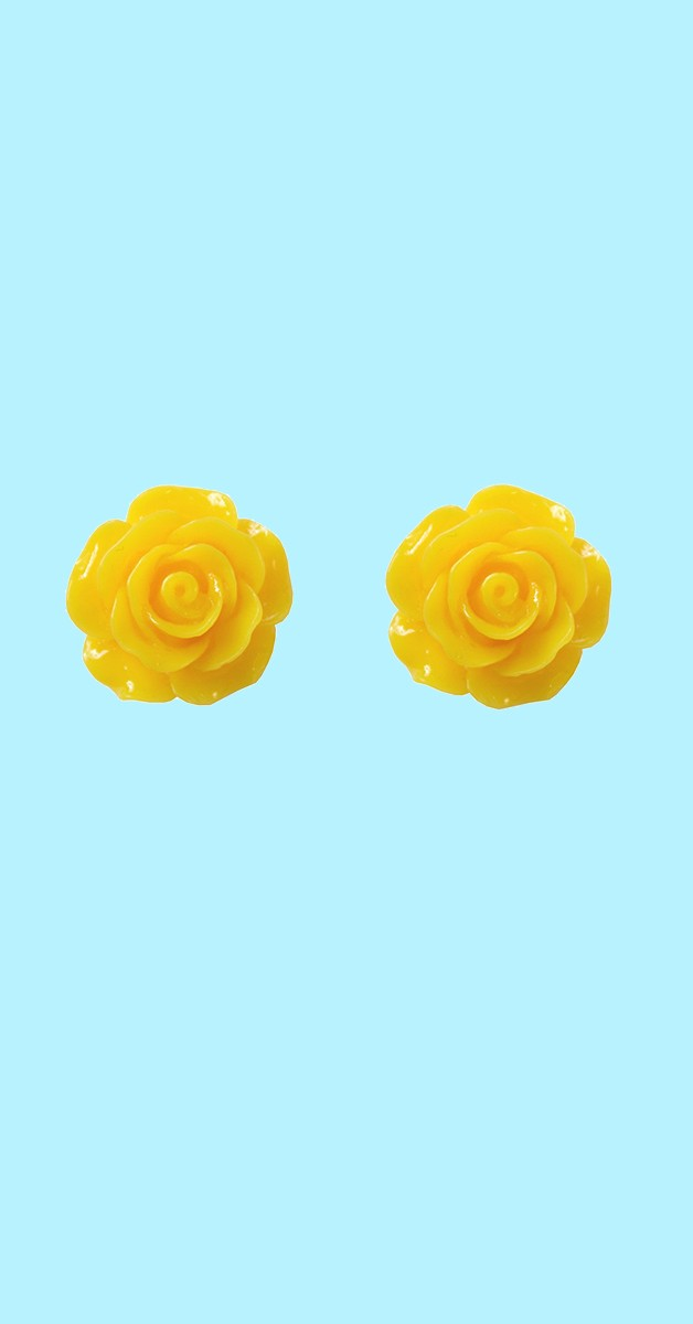 Vintage Retro Ohrstecker - English Rose Studs - Gelb