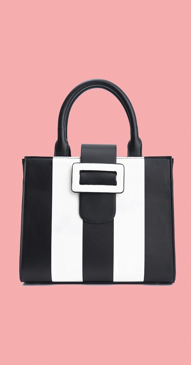 Vintage Retro Bag - Vivi Adored Vegan Handbag - Black/Cream