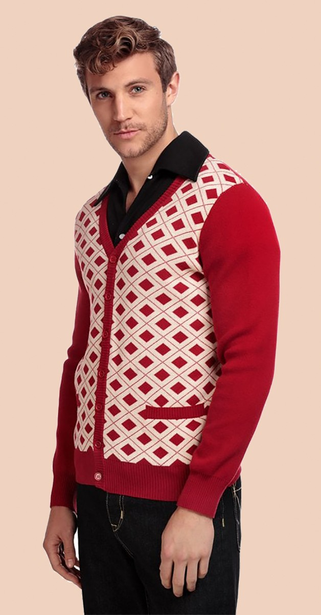 Vintage Fashion - Dave 50s Cardigan - Red