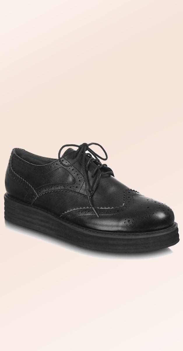Vintage Stil Schuhe - Andrea Creeper - Schwarz