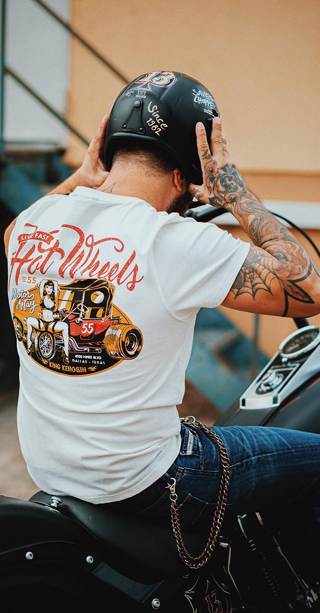 Rockabilly Clothing - Rockabilly Mode - T-Shirt with Back Print Hot Wheels