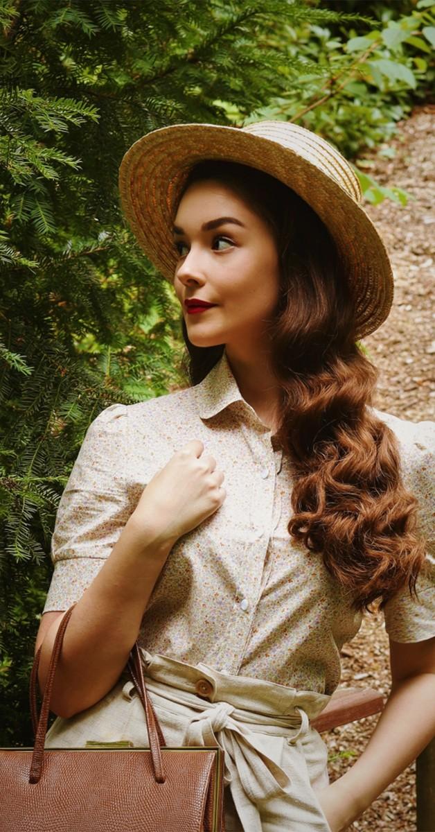 Vintage  Fashion -Classic Blouse Voile Cotton Amber Kiss