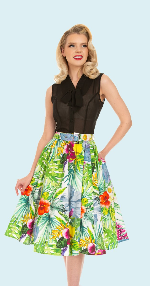 50er Jahre Mary Tropical Floral Swing Rock