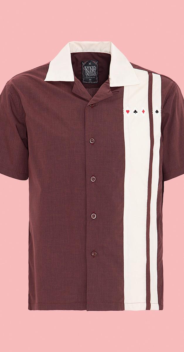 Rockabilly Fashion - Bowlingshirt - Burgundy