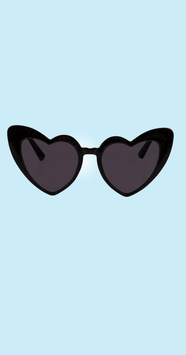 Vintage 50er Accessoires - Love is the air Sonnenbrille Herzform schwarz