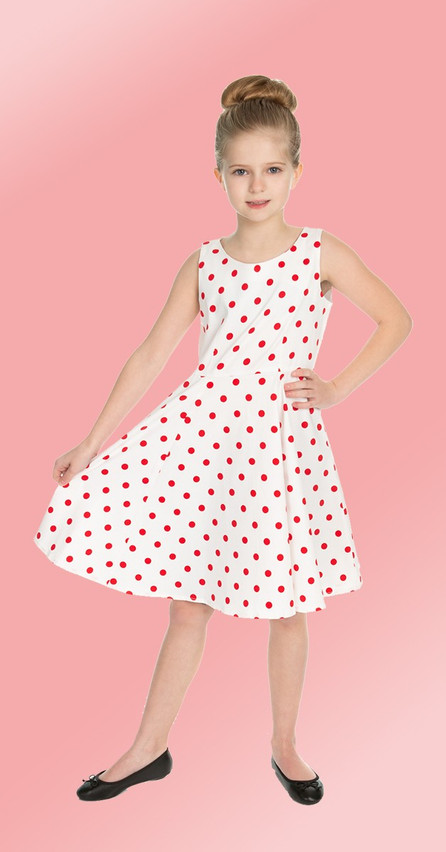 50s Kinderkleidung - Kleid - Cindy Polka Dot Swing Dress - Weiß/Rot