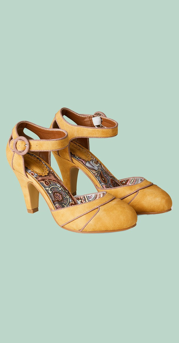 Vintage Style Shoes - Twilight Cafe Shoes - Mustard
