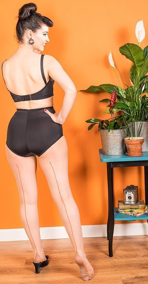 Vintage Mode - Contrast Seamed Tights Coffee - Champagne/Latte