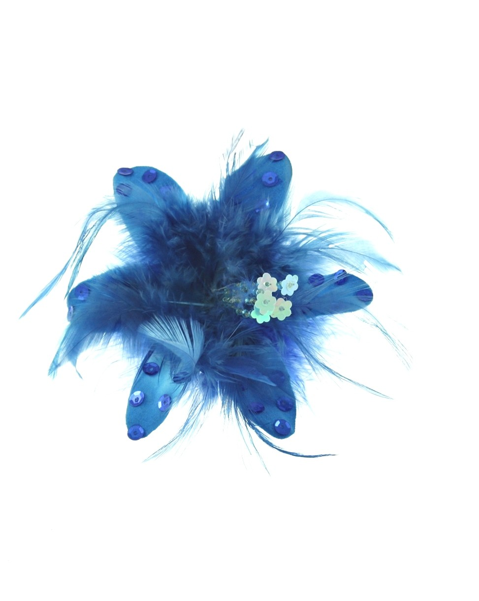 Pin Up Hairclip/Brooch - Flower with Sequins - Blue