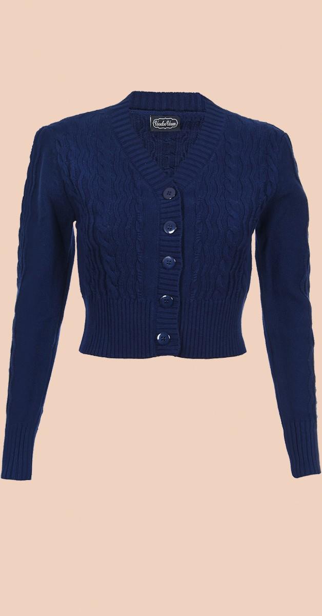 Vintage Clothing - Mabel Cropped 40s Stil Cardigen - Navy