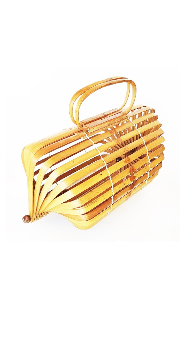 50er Jahre Handtasche - Bambus Falthandtasche - hellbraun