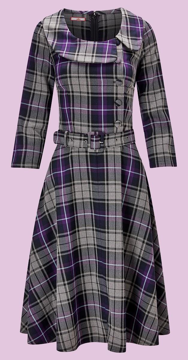 Vintage Clothing - Spirited Vintage Dress - Grey/Purple