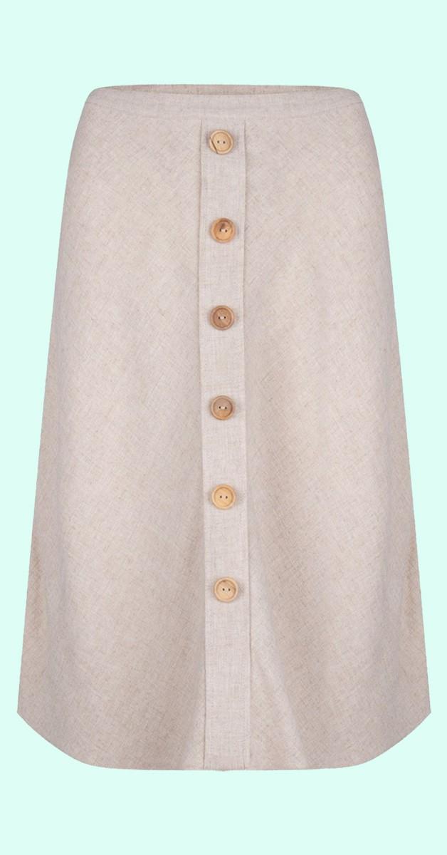 Vintage Fashion - A-Line Skirt - Naturel Linen