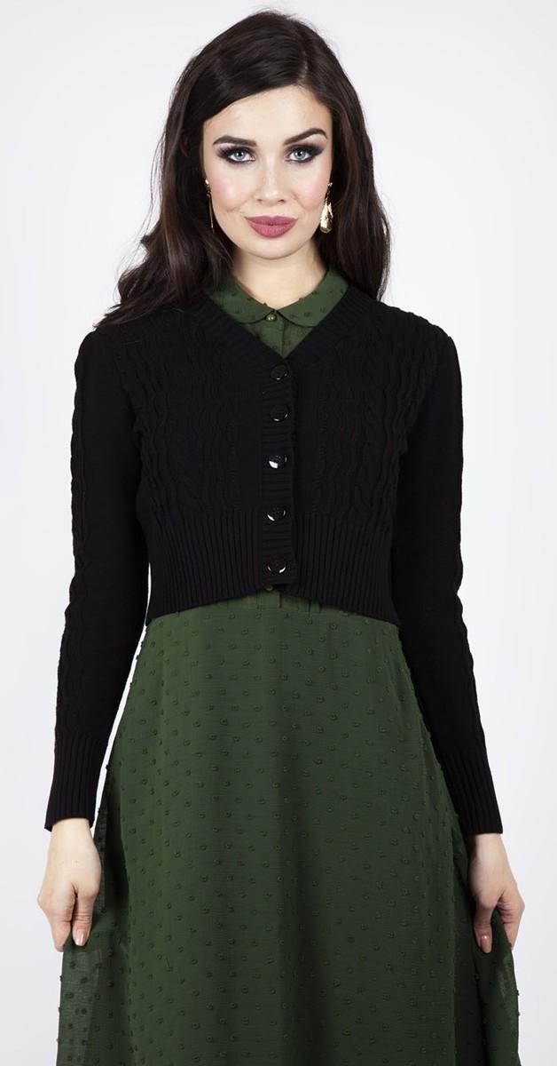 Vintage Clothing - Mabel Cropped 40s Stil Cardigen - Black