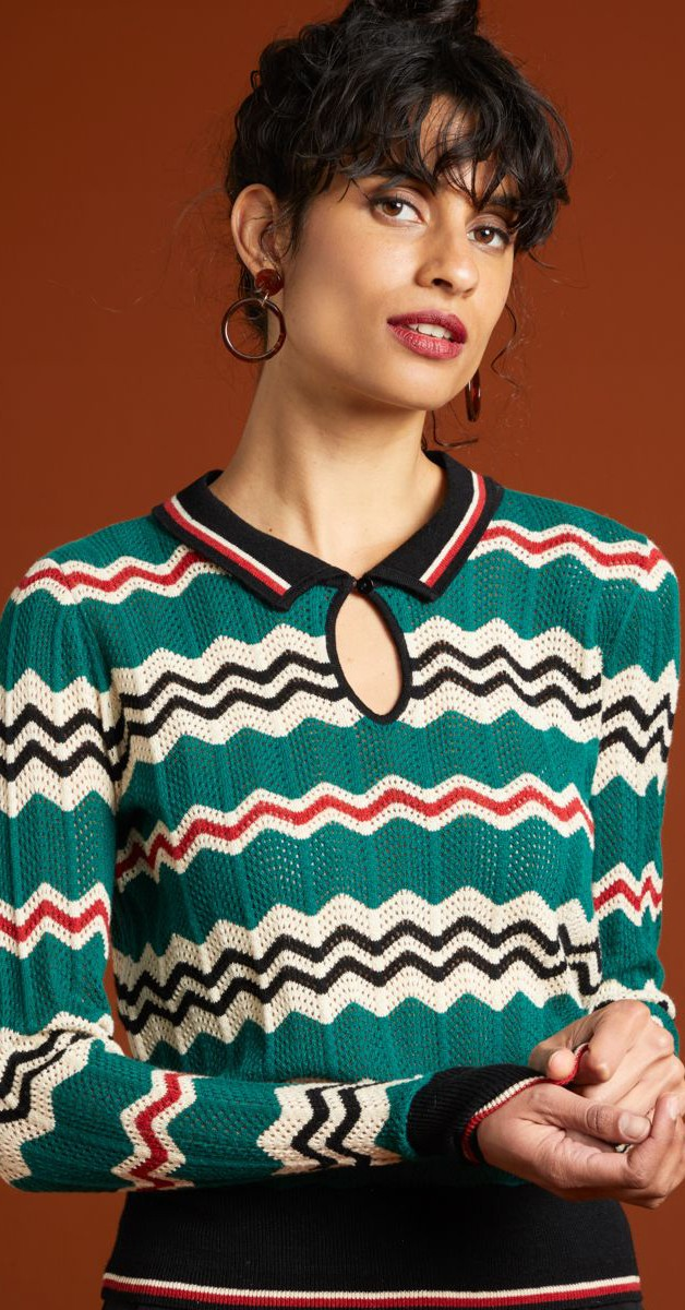 Retro Style Clothing - Collar knit Top - Sizzl