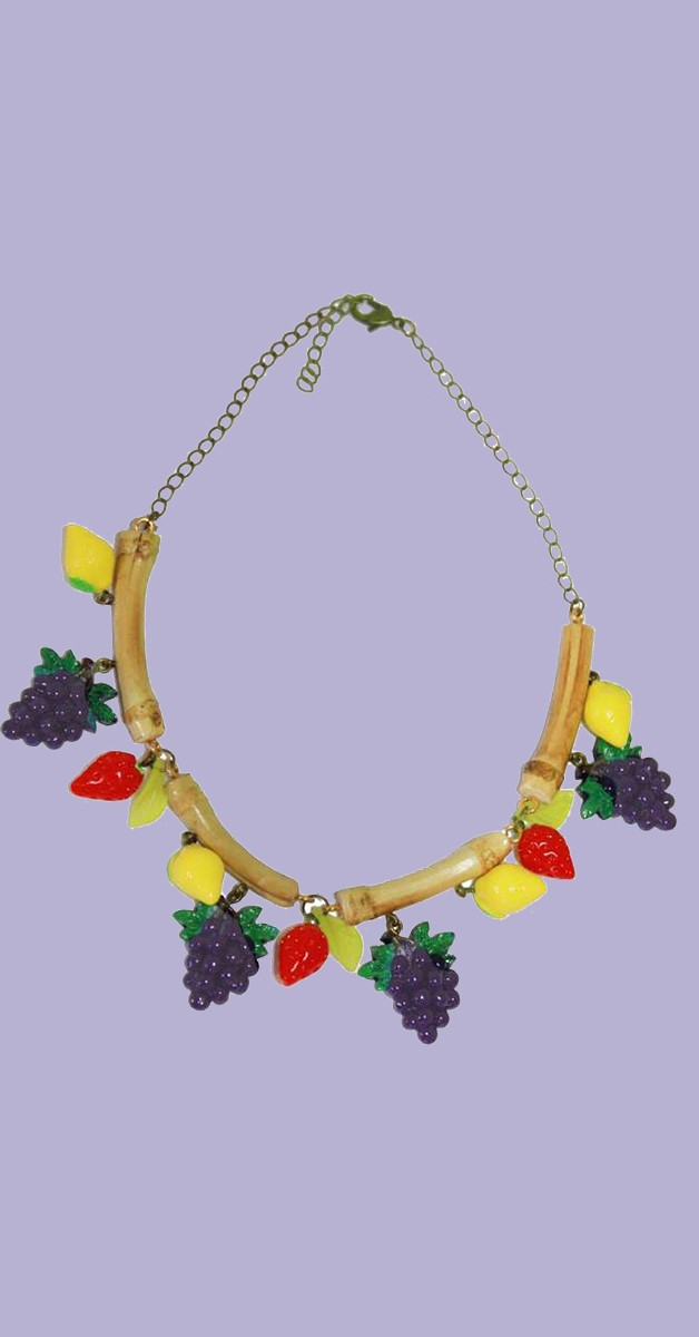 Vintage Jewelry - Collier Bamboo Fruits