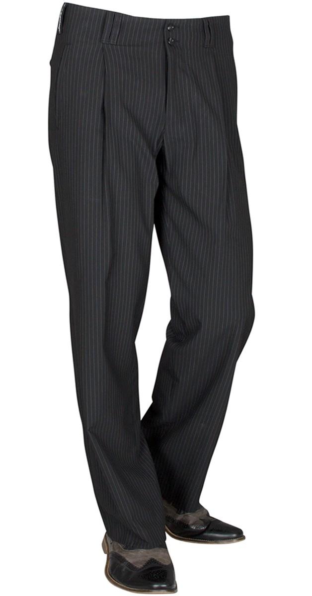 Vintage Bekleidung- Bundfaltenhose mit weißen Nadelstreifen-Swing Hose