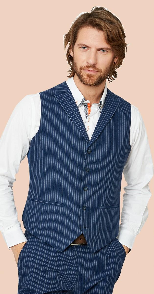Vintage Kleidung - Weste - Superb Stripe Waistcoat - Blau Gestreift
