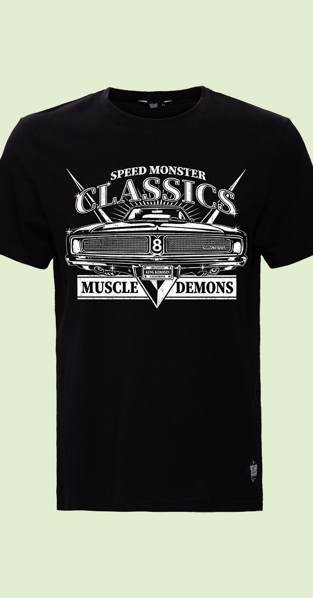 Rockabilly Clothing - T-Shirt - Muscle Demons - Black