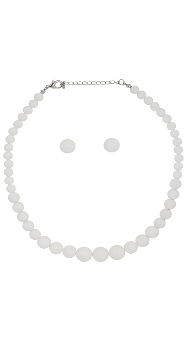 Vintage Jewellery - Natalie Bead Necklace Set-White