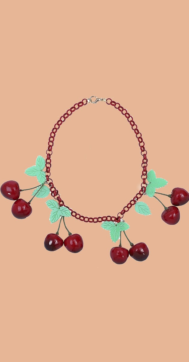 Retro Stil Kette - Vintage 40s Cherries Necklace - Rot/Grün