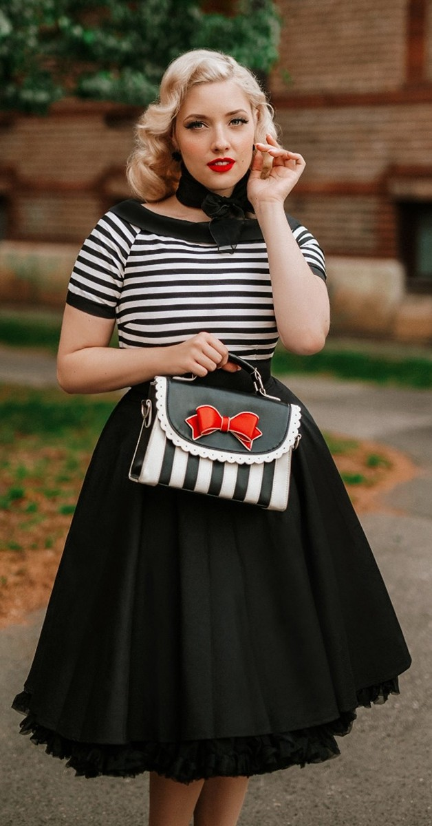 Vintage Style Fashion -Darlene Striped Top Rockabilly Nautical Dress in Black/White